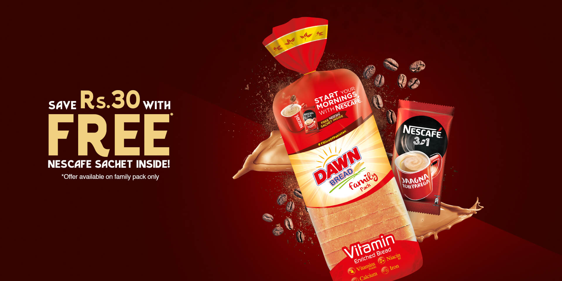 Free Nescafe 3 in 1 Instant Coffee Sachet with Dawn Vitamin Enriched Plain Bread Family Pack