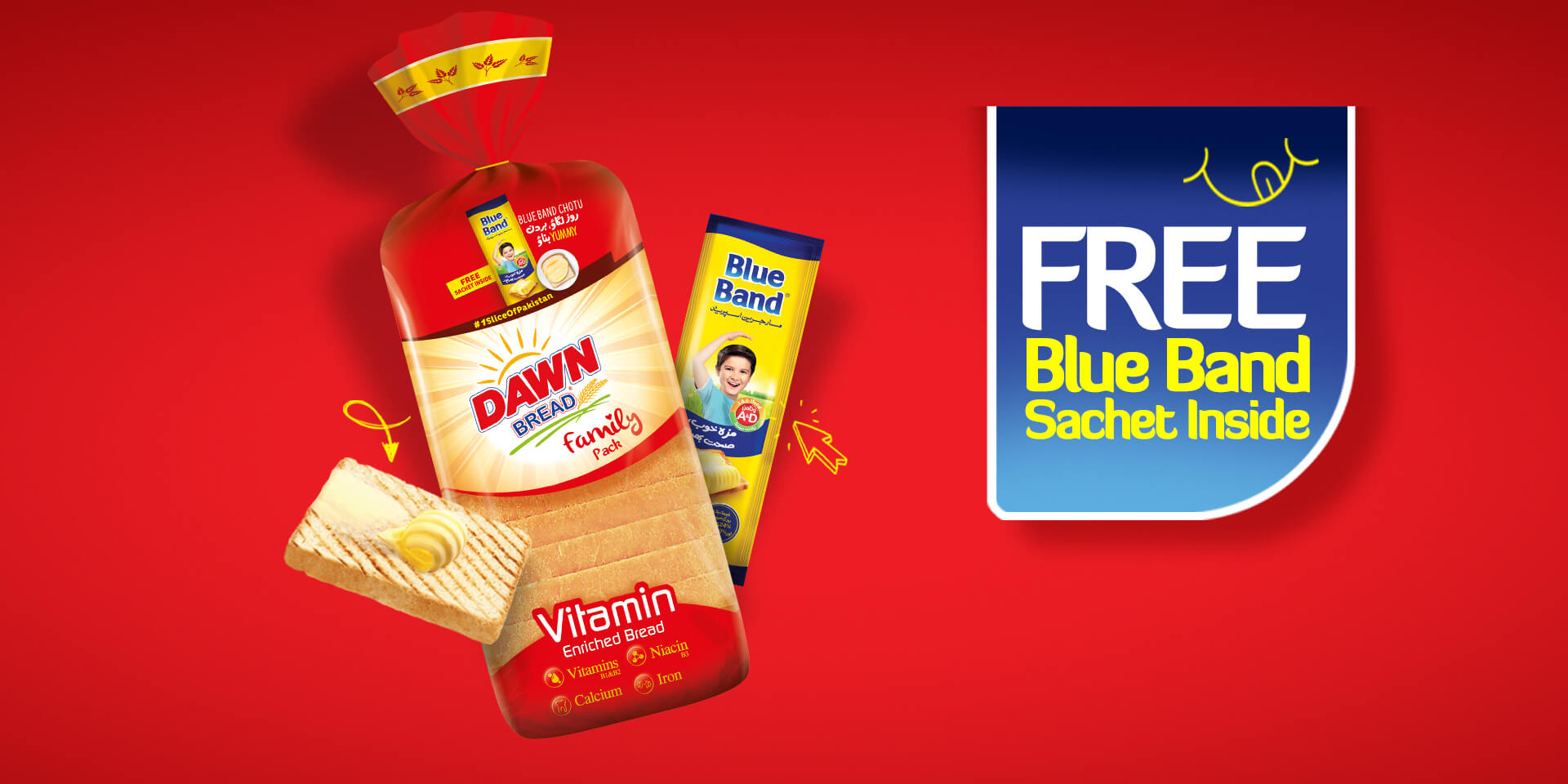 Free Blue band Sachet with Dawn Bread
